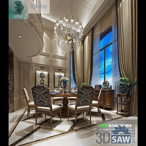 3d Model Interior Free Download - 3ds Max Dining Room Decor - MX-871