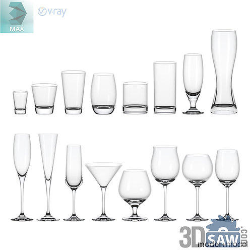 3ds Max Glass - Kitchen Items - 3d Model Free Download