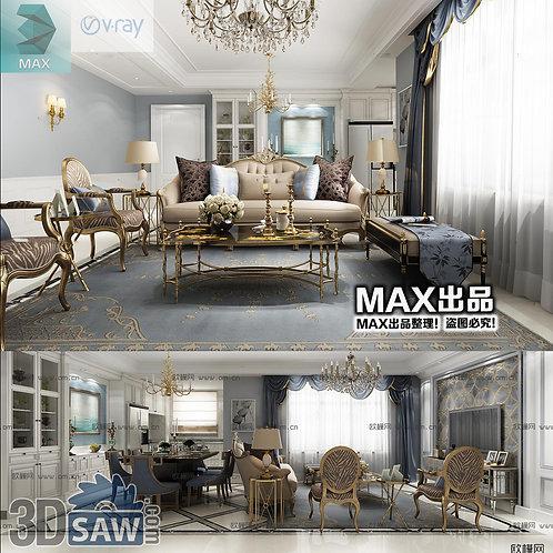 3d Model Interior Free Download - 3ds Max Living Room Decor - MX-1037