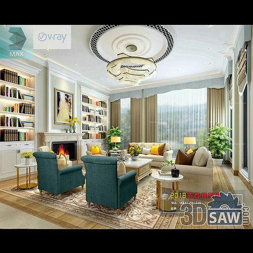 3d Model Interior Free Download - 3ds Max Living Room Decor - MX-1014