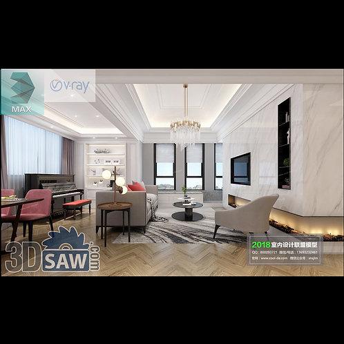 Model Interior Free Download - 3ds Max Living Room Decor - MX-1076