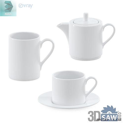 3ds Max Tea Set - Tableware - Kitchen Items - 3d Model Free Download