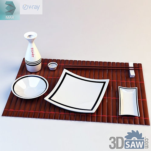 3ds Max Foods Japanese Tableware - Kitchen Items - 3d Model Free Download