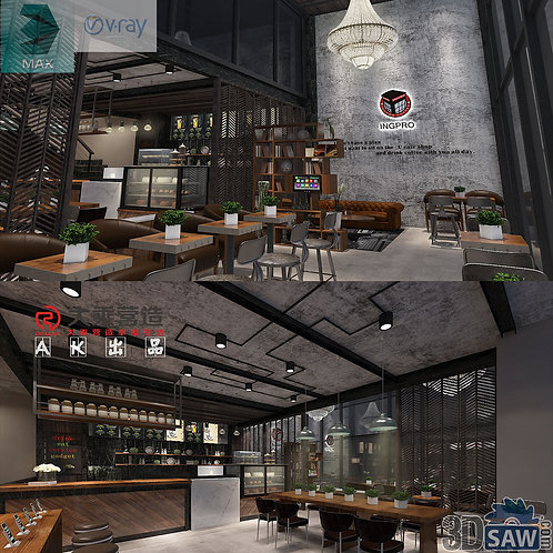 3d Interior Design - Coffee Shop Decor - 3DS Max Shop - Store Decoration
