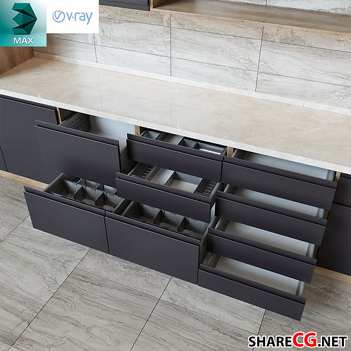 Kitchen Cabinets Casework - Kitchen modules - MX-0000037