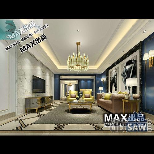 3d Model Interior Free Download - 3ds Max Living Room Decor - MX-1022