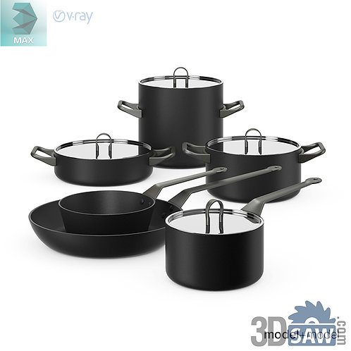 3ds Max Pans Set - Kitchen Items - 3d Model Free Download