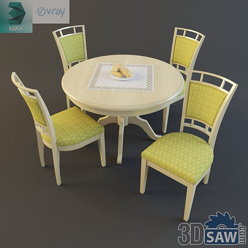 3ds Max Table And Chairs Model - 3d Model Free Download - MX-1106