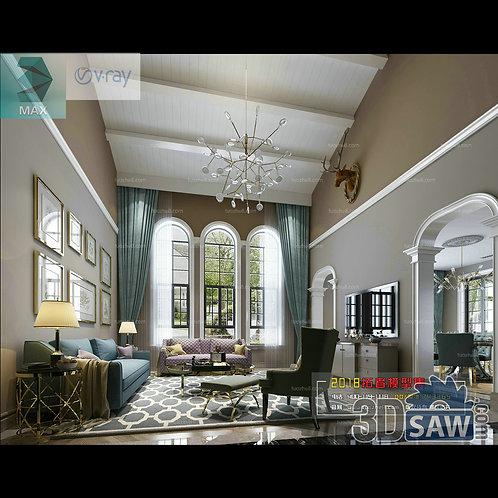3d Model Interior Free Download - 3ds Max Living Room Decor - MX-1006