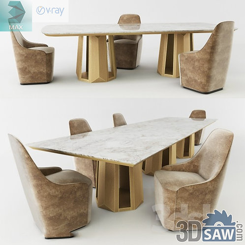 3ds Max Table And Chairs Model - 3d Model Free Download - MX-1154