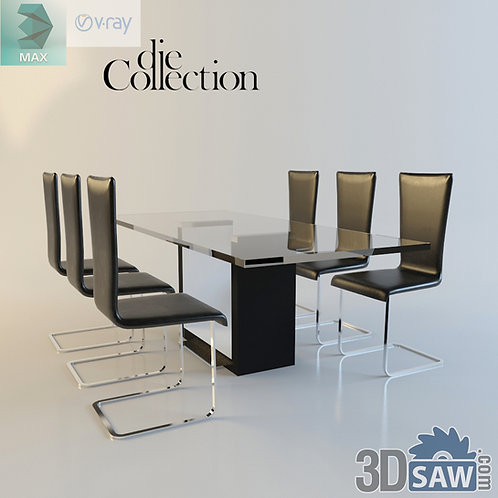 3ds Max Table And Chairs Model - 3d Model Free Download - MX-994