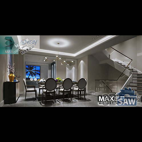 3d Model Interior Free Download - 3ds Max Dining Room Decor - MX-880