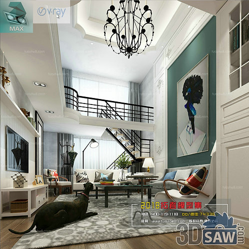 3d Model Interior Free Download - 3ds Max Living Room Decor - MX-1005