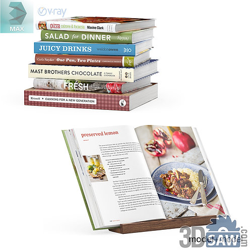 3ds Max Books - Bookstand - Kitchen Items - 3d Model Free Download