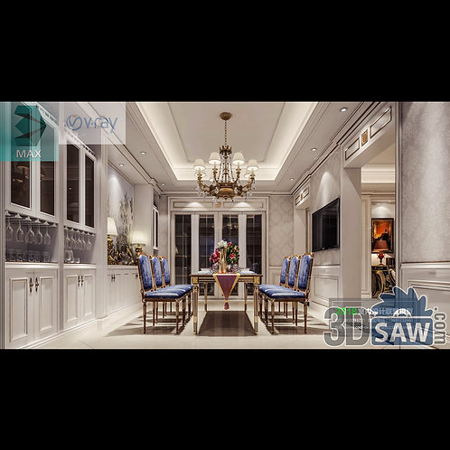 3d Model Interior Free Download - 3ds Max Dining Room Decor - MX-886