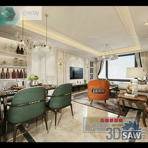 3d Model Interior Free Download - 3ds Max Living Room Decor - MX-1001