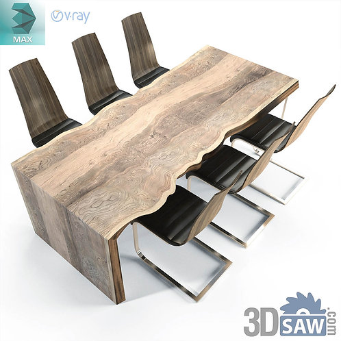 Wooden Table Slab And Chairs Set - MX-0000192