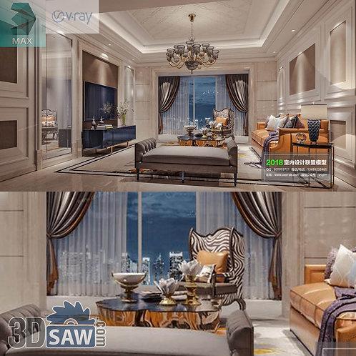 3d Model Interior Free Download - 3ds Max Living Room Decor - MX-1052