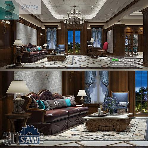 3d Model Interior Free Download - 3ds Max Living Room Decor - MX-1054