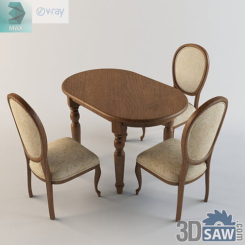 3ds Max Table And Chairs Model - 3d Model Free Download - MX-1108
