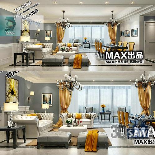 3d Model Interior Free Download - 3ds Max Living Room Decor - MX-1015