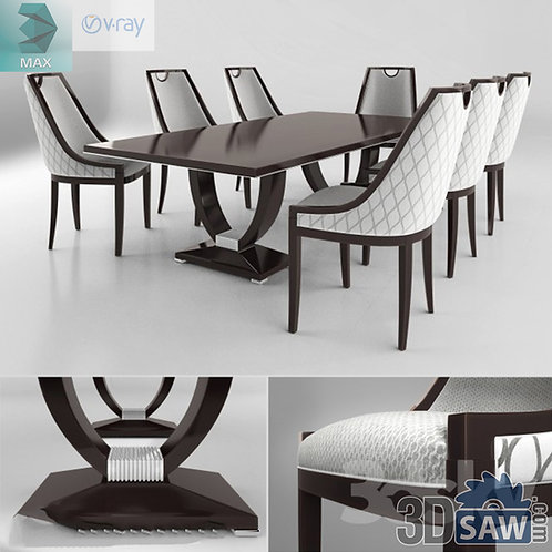 3ds Max Table And Chairs Model - 3d Model Free Download - MX-1122
