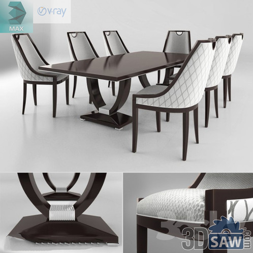 3ds Max Table And Chairs Model - 3d Model Free Download - MX
