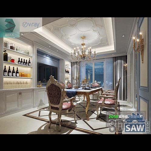 3d Model Interior Free Download - 3ds Max Dining Room Decor - MX-876