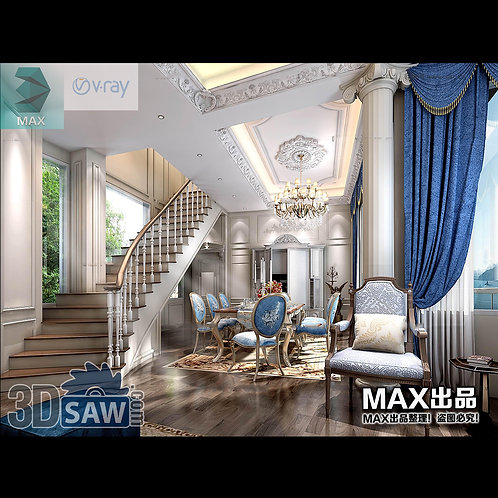 3d Model Interior Free Download - 3ds Max Living Room Decor - MX-1039