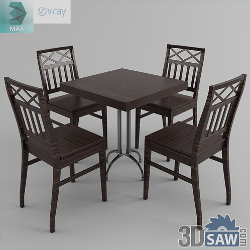 3ds Max Table And Chairs Model - 3d Model Free Download - MX-986