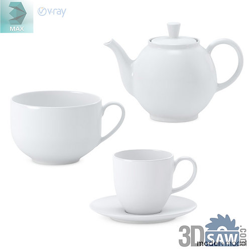 3ds Max Tea Set - Tableware - Kitchen Items - 3d Model Free Download