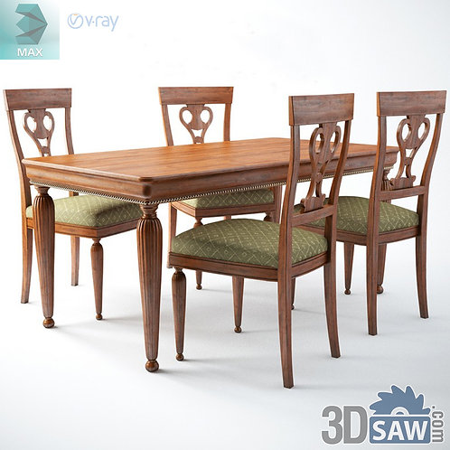 Table And Chairs - Baroque Decor - Vintage Furniture - MX-561