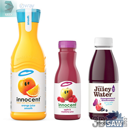 3ds Max Juice Bottles  - Kitchen Items - 3d Model Free Download