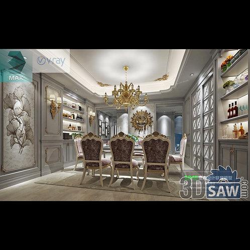 3d Model Interior Free Download - 3ds Max Dining Room Decor - MX-883