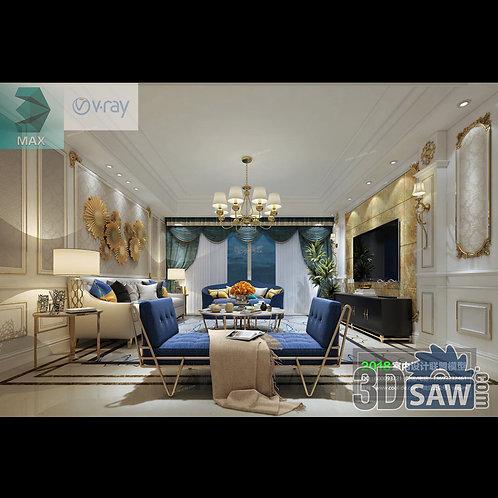 3d Model Interior Free Download - 3ds Max Living Room Decor - MX-1047