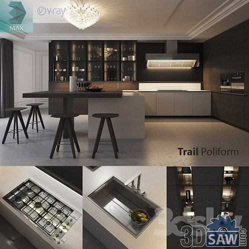3ds Max Cabinets Casework - Kitchen Room Design - 3d Model Free Download