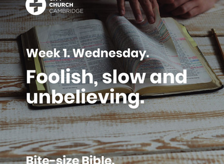 Foolish, slow and unbelieving: Jesus tears his hair out.