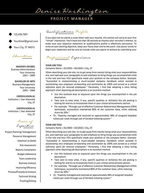 Classic Elegance - Professional Resume Template - Gold & Black