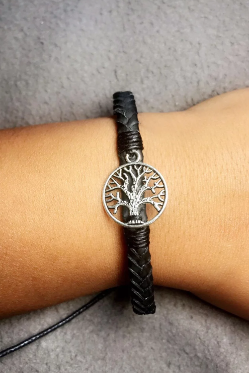 Tree of Life Leather Woven Bracelet - Black