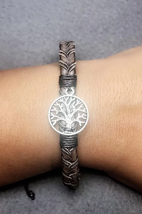 Tree of Life Leather Woven Bracelet - Chocolate