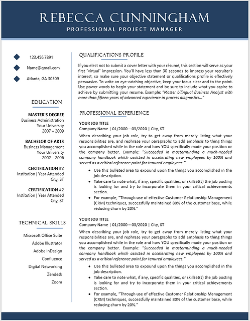 Classic Professional 2 Page Word & PDF Resume Template | Cover Letter Included