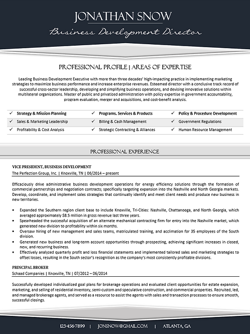C-Level - CV Template - Bluish Black & Gray