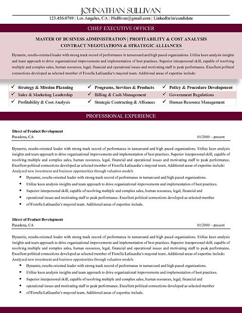 C-Level Professional Resume Burgundy | 1, 2, & 3 Page Templates | Microsoft Word