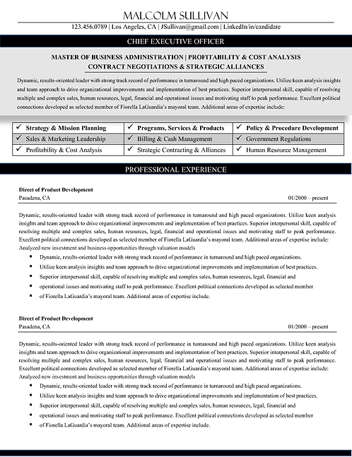 C-Level Professional Resume - Traditional | 1, 2, & 3 Page Templates | Microsof