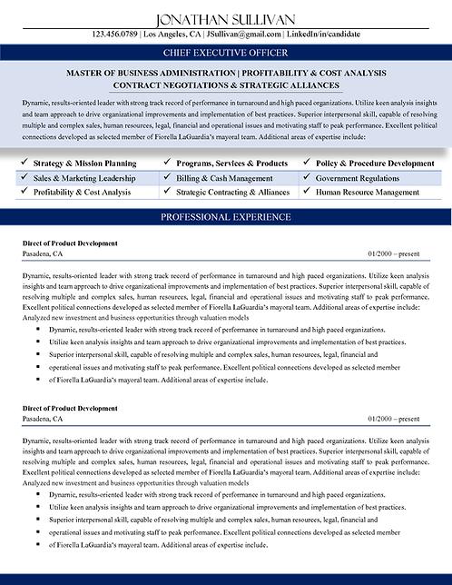 C-Level Professional Resume Royal Blue   1, 2, & 3 Page Templates   Microsoft Wo