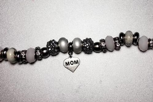 """Silver """"Mom"""" Charm Bracelet"""