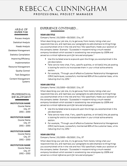 Classic Professional 2-Page Resume Template | Cover Letter Included