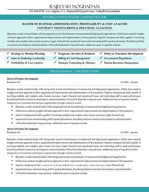 C-Level Professional Resume Teal | 1, 2, & 3 Page Templates | Microsoft Wo