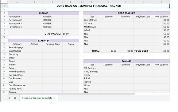Customizable Finance Tracker Template (Google Sheets Link)