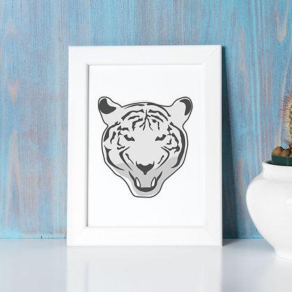 """Tiger Queen"" - Digital Print, 8x10 (grey scale)"